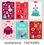 set of six christmas greeting... | Shutterstock .eps vector #736741891