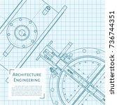 vector technical blueprint of... | Shutterstock .eps vector #736744351