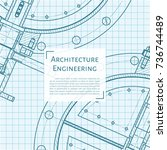 vector technical blueprint of...   Shutterstock .eps vector #736744489