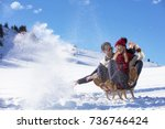 young couple sledding and...   Shutterstock . vector #736746424