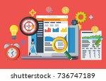data driven marketing strategy. ... | Shutterstock . vector #736747189