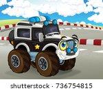 cartoon scene with happy...   Shutterstock . vector #736754815