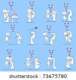 set of wedding pictures  bride... | Shutterstock .eps vector #73675780