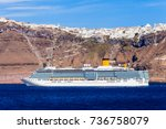 cruise ship liner near the... | Shutterstock . vector #736758079