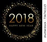 2018 new year on black... | Shutterstock .eps vector #736761115