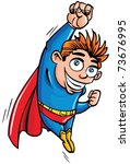 Cute Cartoon Superhero Boy...