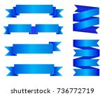 vector set of blue ribbon... | Shutterstock .eps vector #736772719