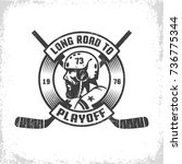 hockey  playoff retro emblem... | Shutterstock .eps vector #736775344