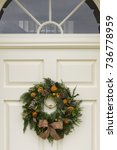 traditional christmas wreath on ...   Shutterstock . vector #736778959