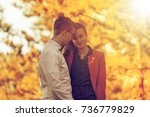 portrait of happy young couple... | Shutterstock . vector #736779829