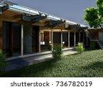 3d rendering and design  modern ... | Shutterstock . vector #736782019