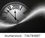 black shining 2018 new year... | Shutterstock .eps vector #736784887