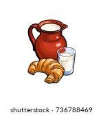 vector sketch cartoon glass of... | Shutterstock .eps vector #736788469