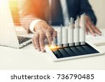 businessman hand working with... | Shutterstock . vector #736790485