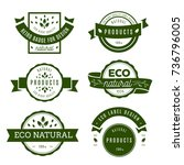eco icons  labels set.  | Shutterstock .eps vector #736796005