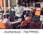 multiracial contemporary... | Shutterstock . vector #736799401