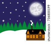 cottage in a fabulous night... | Shutterstock .eps vector #736800199