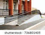 building entrance with ramp for ... | Shutterstock . vector #736801405