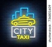 city taxi neon logos concept... | Shutterstock .eps vector #736801609