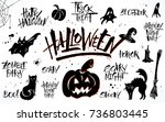halloween lettering and clipart ... | Shutterstock .eps vector #736803445
