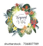 exotic tropical banner  logo ... | Shutterstock .eps vector #736807789