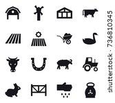16 vector icon set   barn ... | Shutterstock .eps vector #736810345