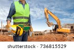 a construction worker man with... | Shutterstock . vector #736815529