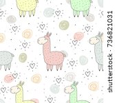 cute seamless pattern with... | Shutterstock .eps vector #736821031