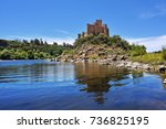 view of the beautiful almourol... | Shutterstock . vector #736825195