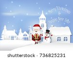 happy winter with santa holding ... | Shutterstock .eps vector #736825231