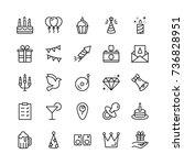 happy birthday icon set.... | Shutterstock .eps vector #736828951