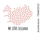 iceland map with red hearts ... | Shutterstock .eps vector #736832515