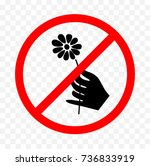 no picking flowers sign  | Shutterstock .eps vector #736833919