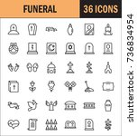 funeral icon set. collection of ... | Shutterstock .eps vector #736834954