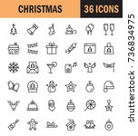 christmas icon set. collection... | Shutterstock .eps vector #736834975
