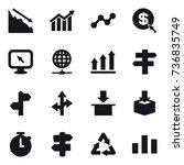 16 vector icon set   crisis ... | Shutterstock .eps vector #736835749
