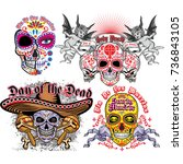 holy death  day of the dead ... | Shutterstock .eps vector #736843105