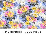 seamless flora pattern with... | Shutterstock . vector #736844671