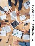 top view of business partners... | Shutterstock . vector #736845661
