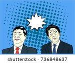 xi jinping and shinzo abe pop...   Shutterstock .eps vector #736848637