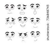 set of cute  faces  different... | Shutterstock .eps vector #736848745