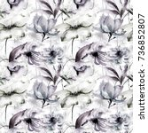 seamless pattern with wild...   Shutterstock . vector #736852807