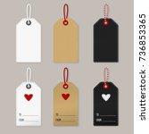 set of labels  white  cardboard ... | Shutterstock .eps vector #736853365
