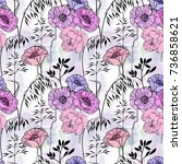 floral seamless pattern with... | Shutterstock . vector #736858621