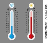 meteorology thermometers... | Shutterstock .eps vector #736861105