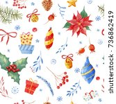 seamless christmas pattern with ... | Shutterstock . vector #736862419