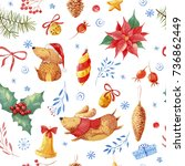 seamless christmas pattern with ... | Shutterstock . vector #736862449