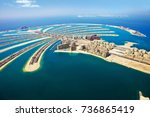 palm island in dubai aerial view | Shutterstock . vector #736865419