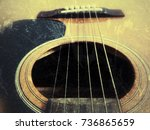 acoustic guitar in vintage tone ... | Shutterstock . vector #736865659