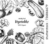 vector frame with vegetables .... | Shutterstock .eps vector #736866679